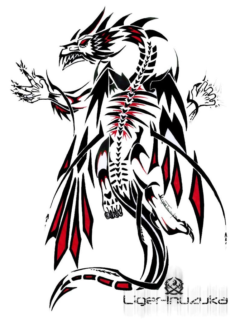 Terrific Black And Red Color Ink Demonic Dragon Tattoo Design For Boys