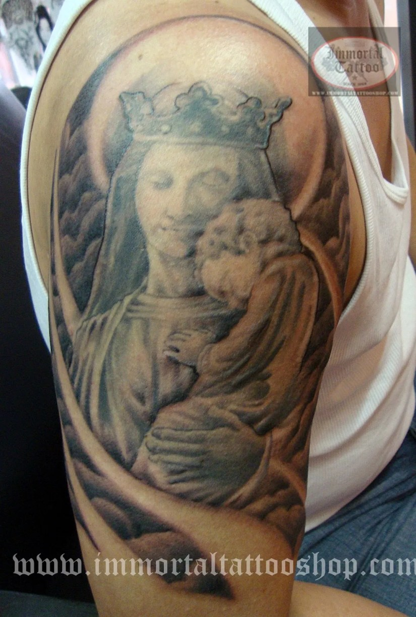 Terrific Black Color Ink Half Sleeve Mary with Jesus Baby Tattoo On Boy Shoulder For Boys