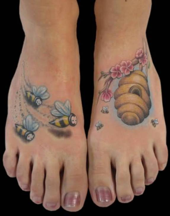 Terrific Red Blue Black And Yellow Color Ink Bumblebees & Hive Tattoo For Feet For Girls