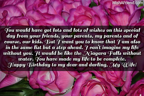This Special Day Happy Birthday To My Dear And Darling My Wife Greeting Quotes Image