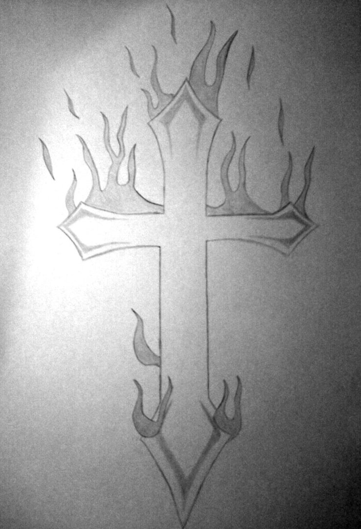 Tradition Black Color Ink Burning Cross Tattoo Sketch For Boys