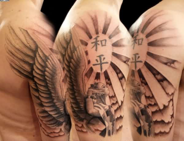 Traditional Black Color Ink Arm Angel Tattoo Design For Boys