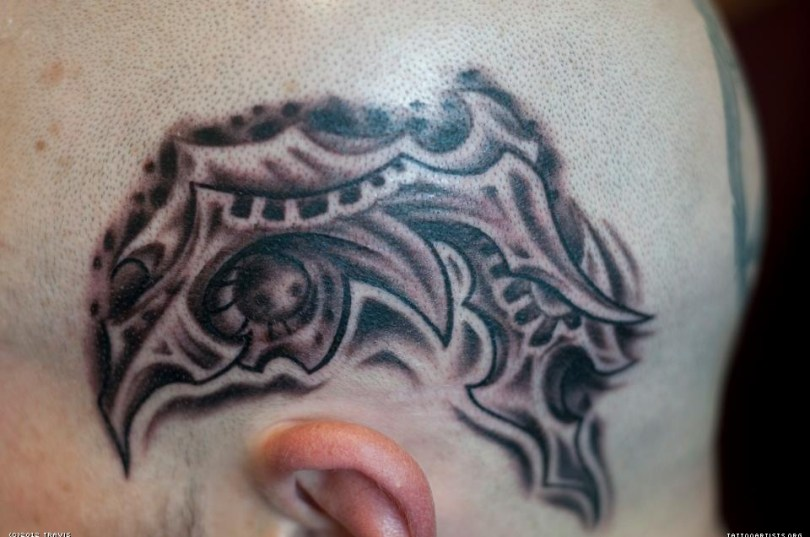 Traditional Brown And Grey Color Ink Biomechanical Head Tattoo Design For Boys