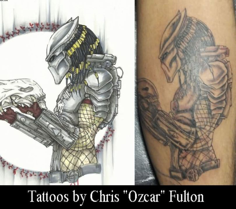 Traditional Grey And Red Color Ink Predator Alien Tattoo For Boys