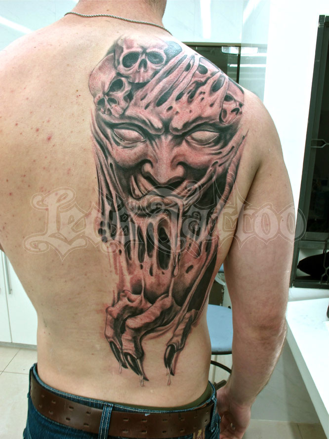Traditional Red And Black Color Ink Scary Demon Tattoo On Right Shoulder Back For Boys