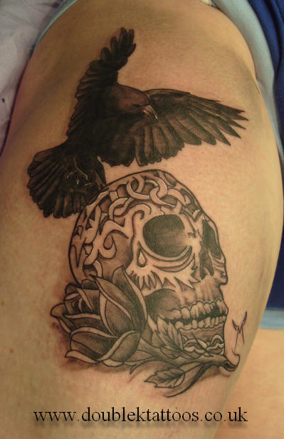 Trendy Black Color Ink Crow On Sugar Skull Tattoo For Boys