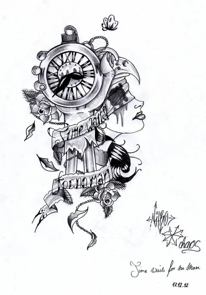 Trendy Black Color Ink Time Waits For No Man Clock Tattoo Idea For Girls