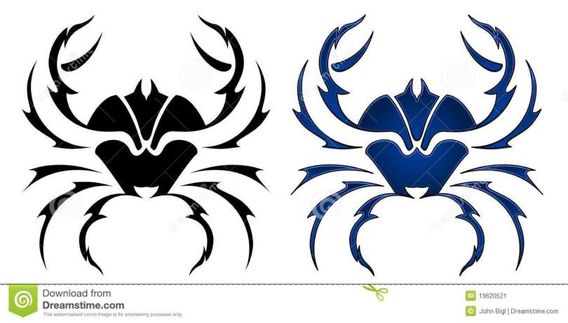 Trendy Blue And Black Color Ink Crab Tattoo Designs For Girls