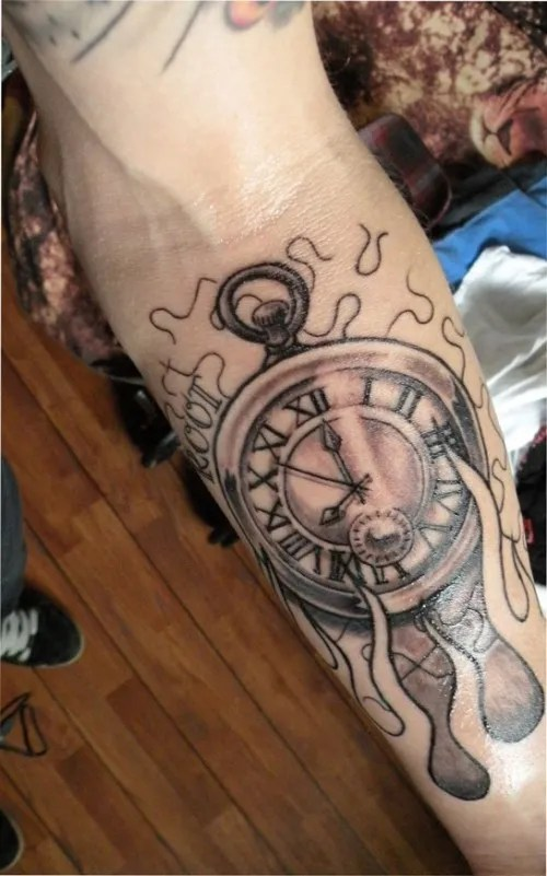 Ultimate Black And Red Color Ink Flames And Clock Tattoos On Forearm For Girls