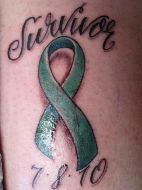 Ultimate Green And Black Color Ink Memorable Breast Cancer Tattoo Design For Girls