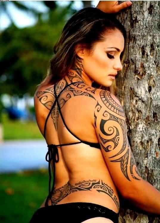 Unique Tribal Tattoos On Back And Shoulder For Women Tattoos