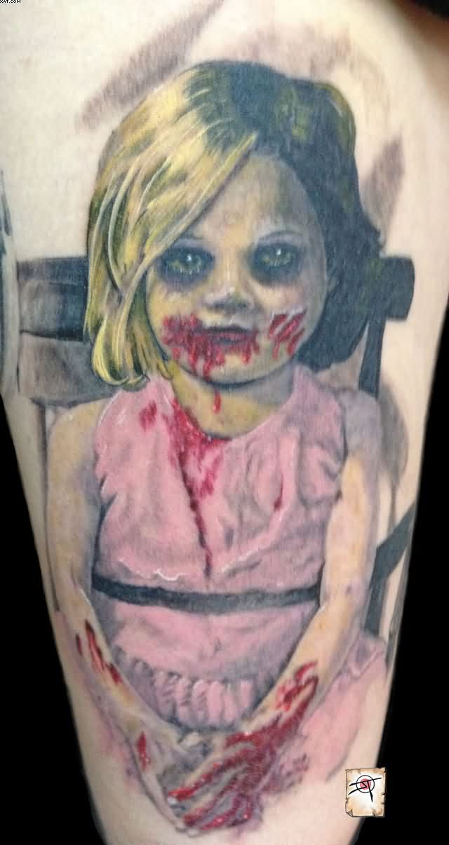 Very Cute Zombie Girl Tattoo On ARm With Colorful Ink