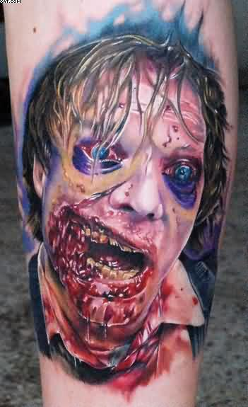 Very Horror Zombie Face Tattoo For Girls