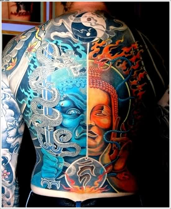 Very Nice Yin Yang Tattoo On Upper Back For Men With Colorful Ink