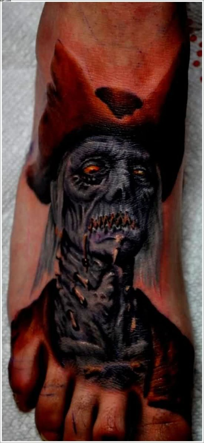 Very Scary Zombie Tattoo For Your Foot With Colorful Ink