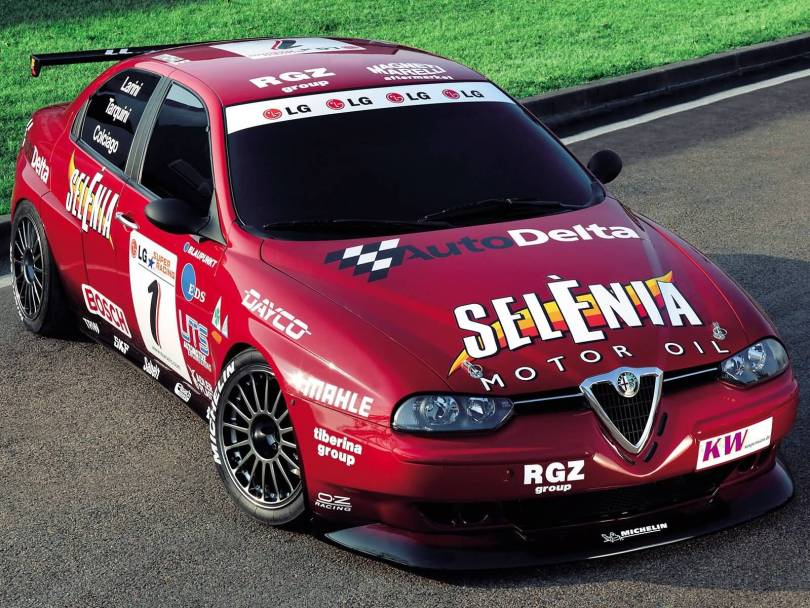Very fast red Alfa Romeo Motorsport car on the road