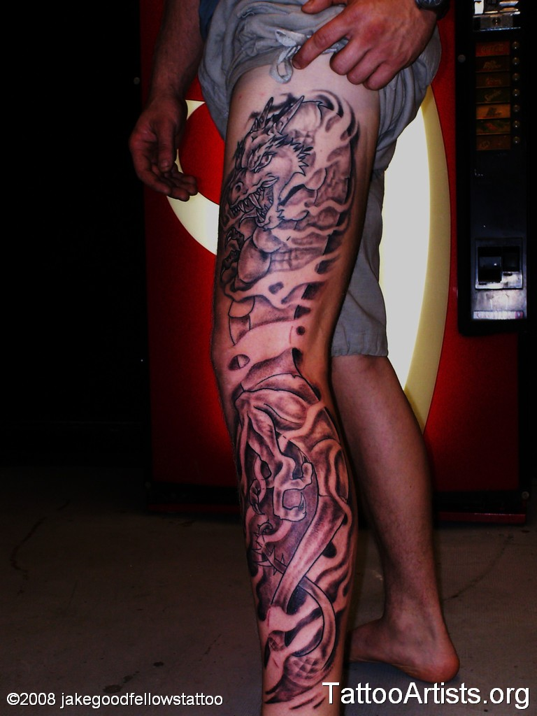 Weird Black And Red Light Color Ink Asian Dragon Tattoo For Leg For Boys
