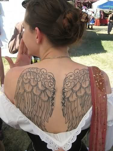 Weird Black Color Ink Angel Wings On Back Tattoo Design For Girls