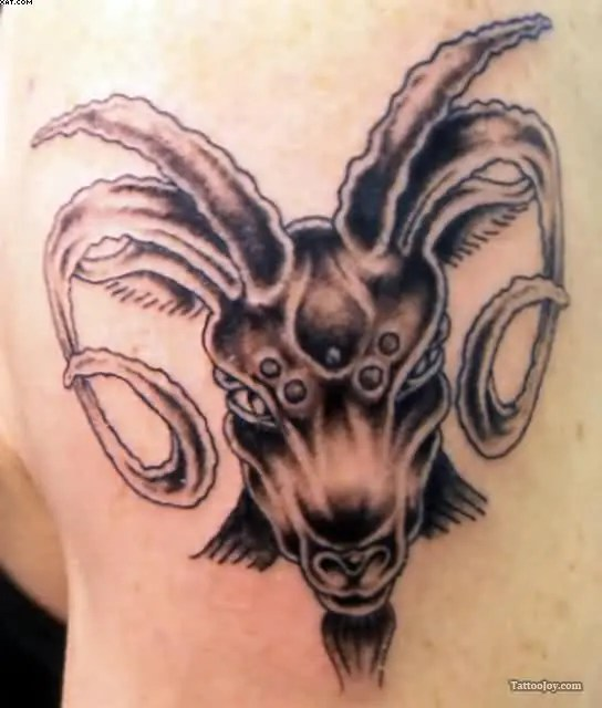 Weird Black Color Ink Aries Goat Head Tattoo Design For Boys