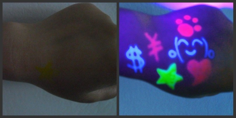 Weird Blue And Green Color Light Blacklight Tattoo Designs For Hand For Girls