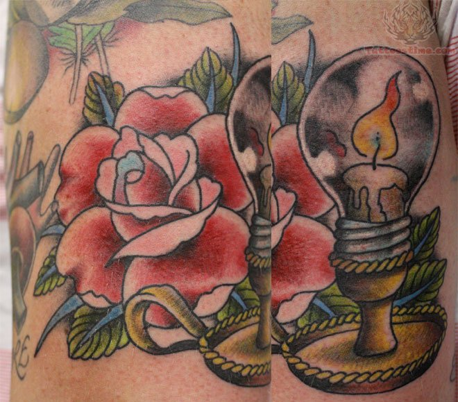 Weird Blue Yellow Black And Red Color Ink Candle Bulb Tattoo On Leg For Girls Copy