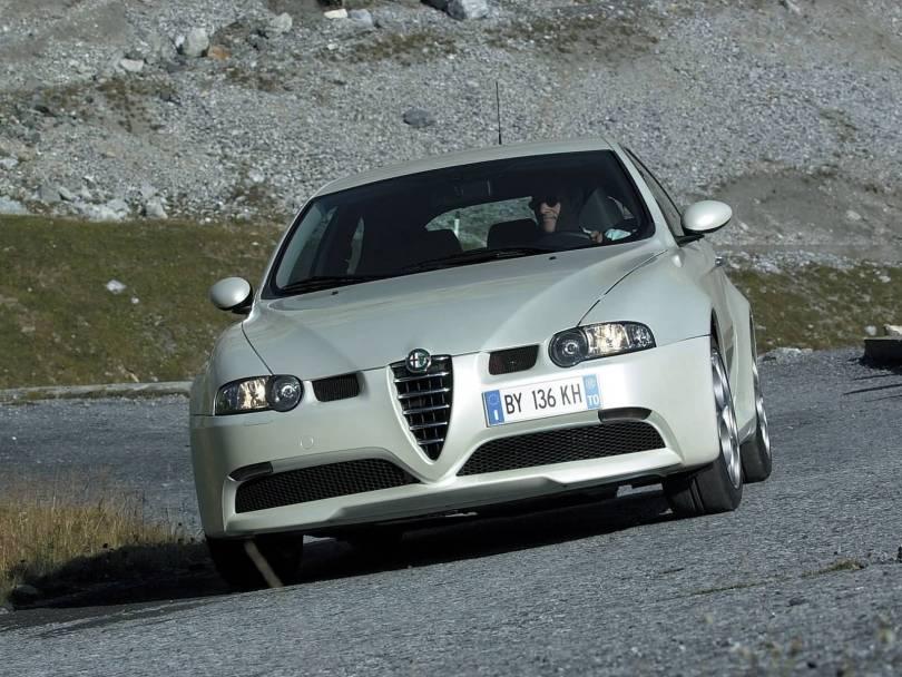 White colour Alfa Romeo 147 GTA Car on the road