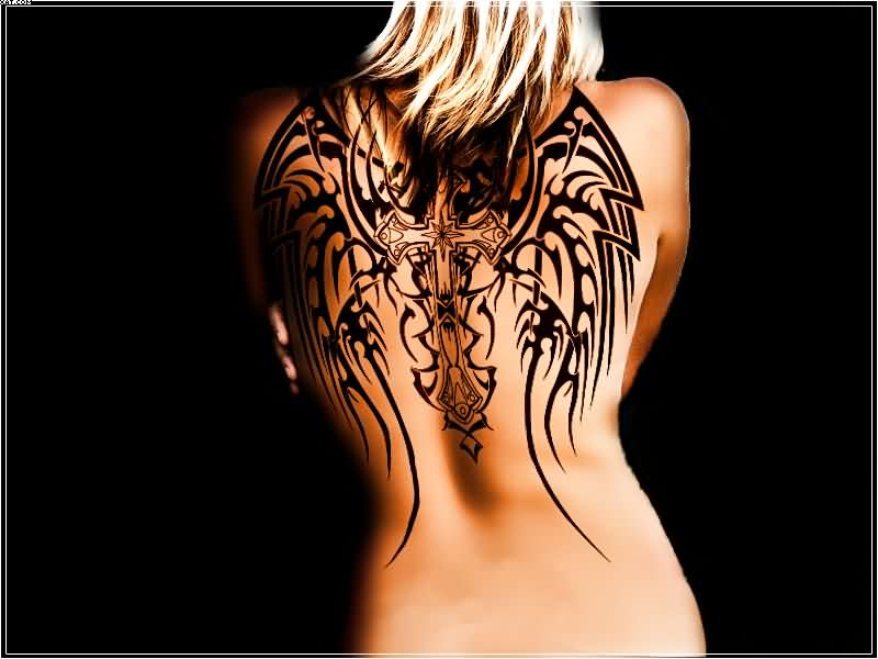 Wing Tattoo On Back With Cross And Black Ink