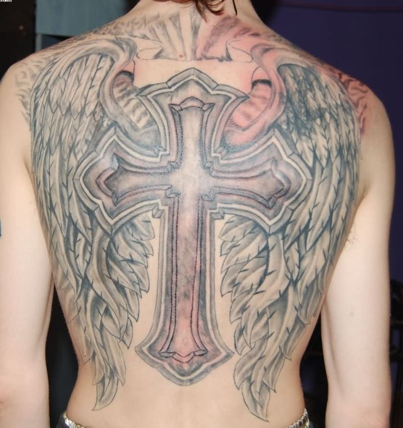 Wings Tattoo With Cross For Male