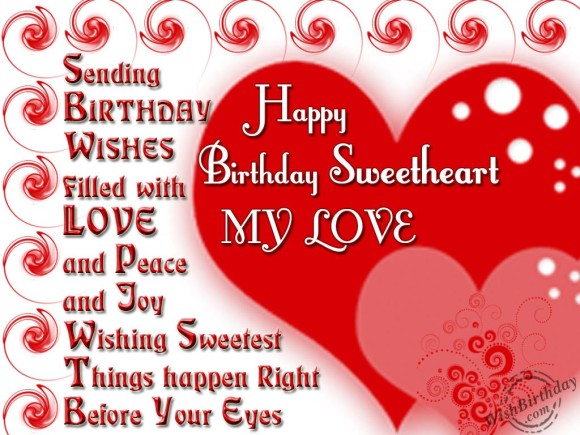 Wishes Filled With Love Happy Birthday Sweetheart My Love Greeting Image
