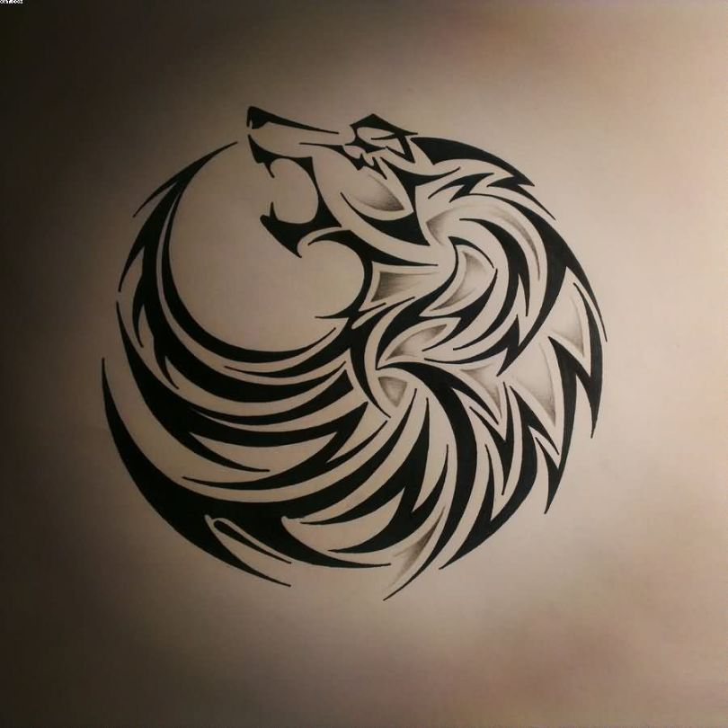 Wolf Tattoo Sample Design In Black Ink