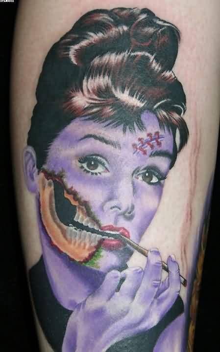 Woman Audrey Hepburn Zombie Tattoo
