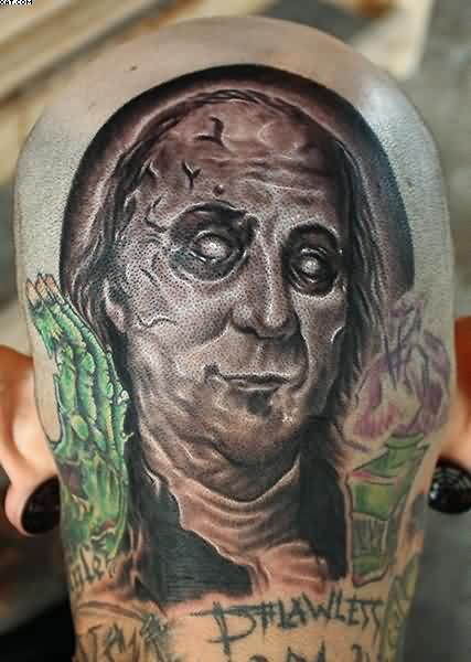 Wonderful Ben Franklin Zombie Tattoo On Shoulder
