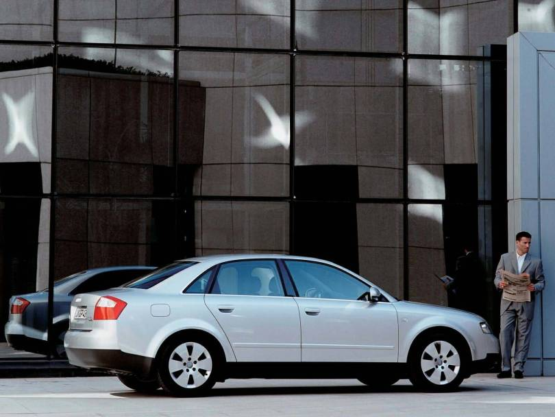 Wonderful right side view of silver Audi A4 Car