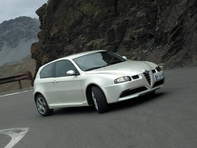 Wonderful White colour Alfa Romeo 147 GTA Car on the road
