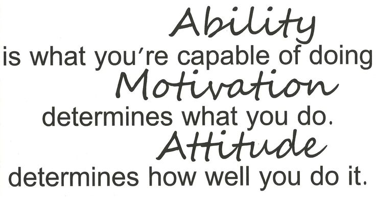 ability is what you're capable of doing motivation determines what you do attitude determines how well you do it.