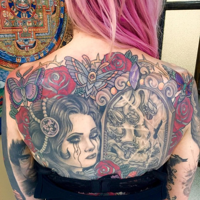 most gorgeous back tattoo with colorful ink for man and woman