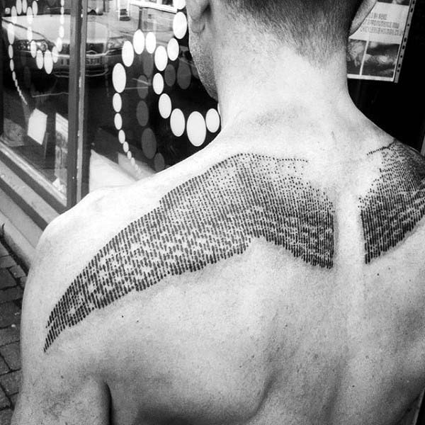 most lovely line work detailed guys upper back wings tattoo with black ink for man and woman