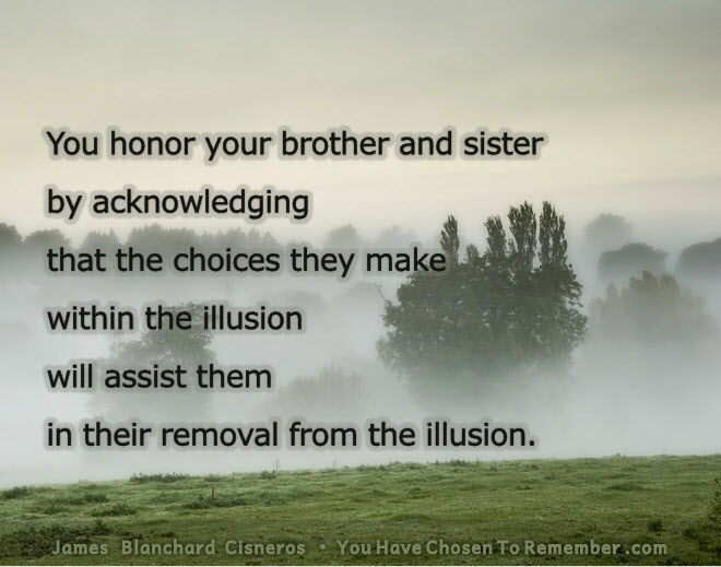 you honor your brother and sister by acknowledging that the choices they make within the illusion will assist them in their removal from the illusion.