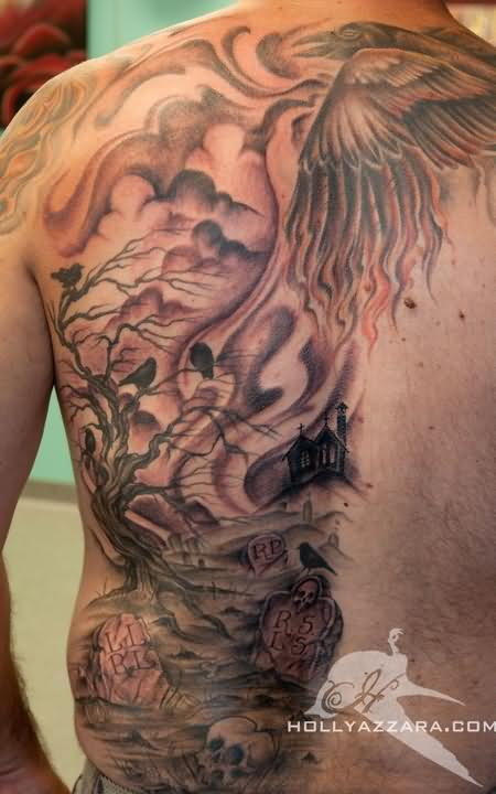 Adorable Back Piece Graveyard Tattoo Design For Boys