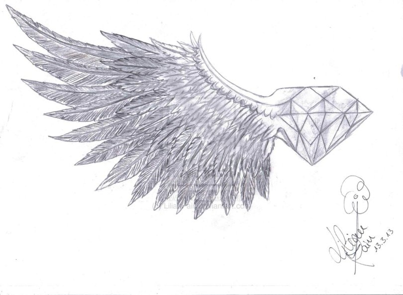 Adorable Diamond With Wings Tattoo Drawing For Boys