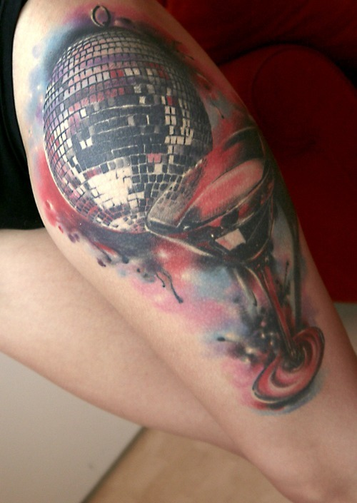 Adorable Disco And Wine Tattoos On Leg For Girls