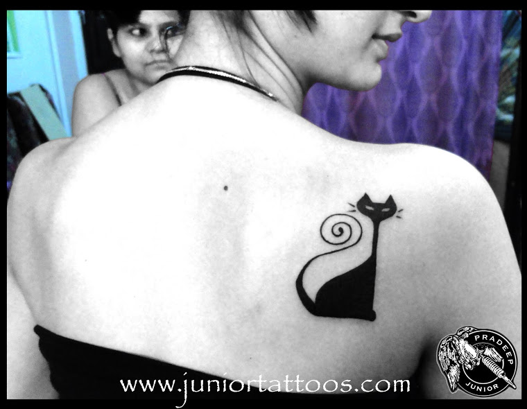 Adorable Egyptian Cat Tattoo Picture For Girls
