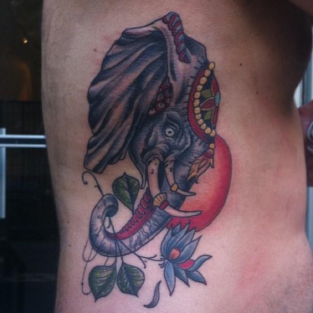 Adorable Elephant n Sun Tattoo On Ribs For Boys