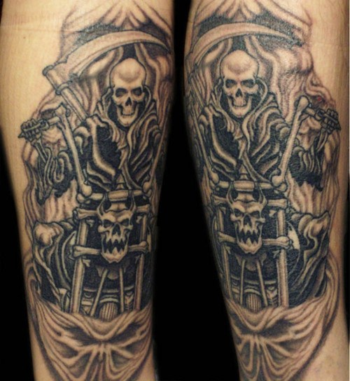 Adorable Grim Reaper Motorcycle Tattoo Design For Boys