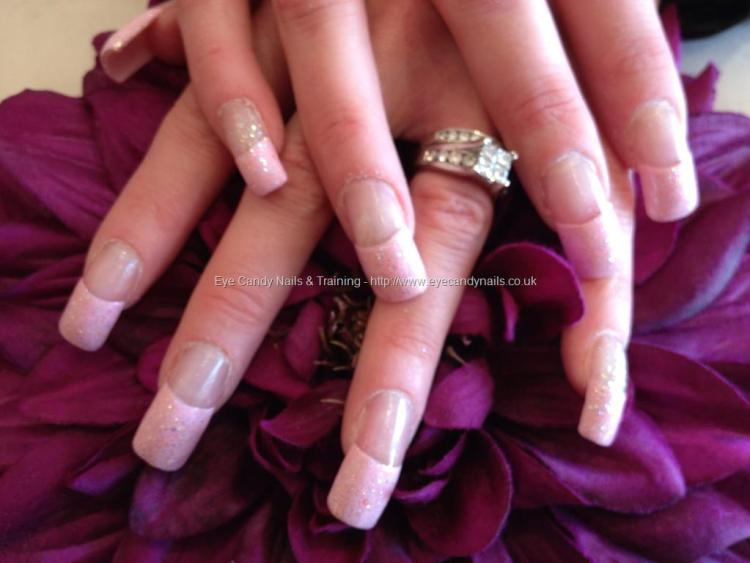 Amazing Baby pink Tip With Sparkling Color Pink Acrylic Nail Design