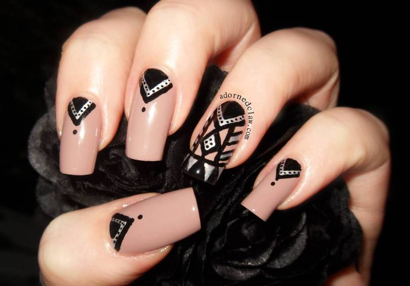 Amazing Black And Beige Nail Art With White Paint Design