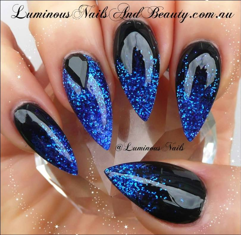 Amazing Blue Nail With Black Crystal Design