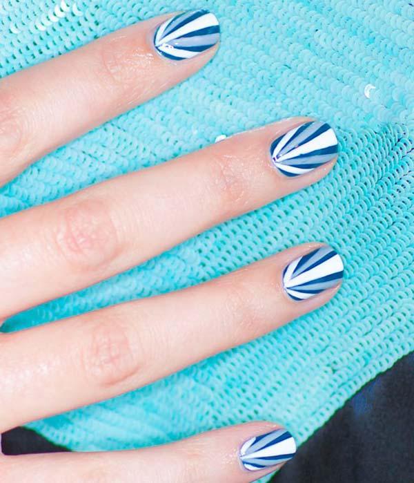 Amazing Blue Nails With V Shape Design