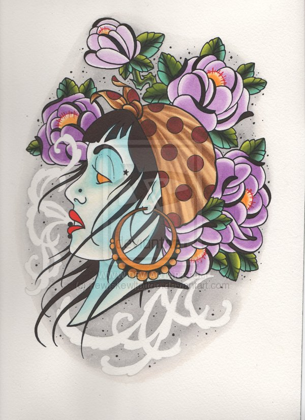 Amazing Girl Head With Flowers Tattoo Design For Tattoo Fans
