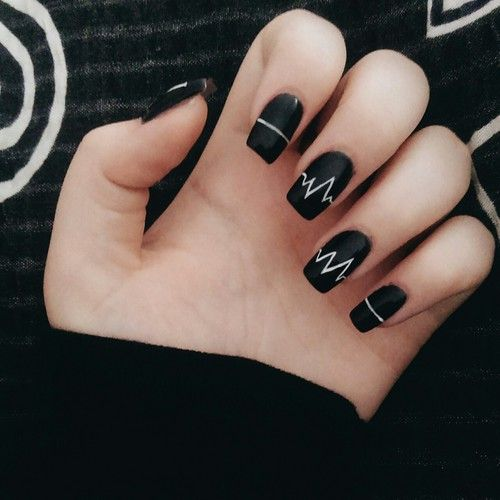 43 fabulous black acrylic nails art designs style picsmine amazing heart beat line design black acrylic nail art prinsesfo Image collections